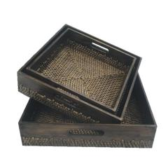 Bamboo and rattan tray 35x35xH10cm