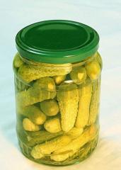 Pickled cucumber in glass jar
