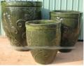 Tall Round Planter - Green Color Stoneware