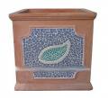Square Planter - Mosaic Leaf Deco