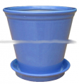 Ceramic pot with saucer blue