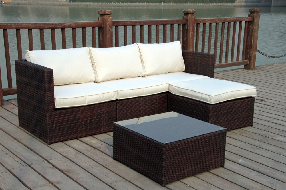 High quality PVC poly rattan sofa garden set furniture