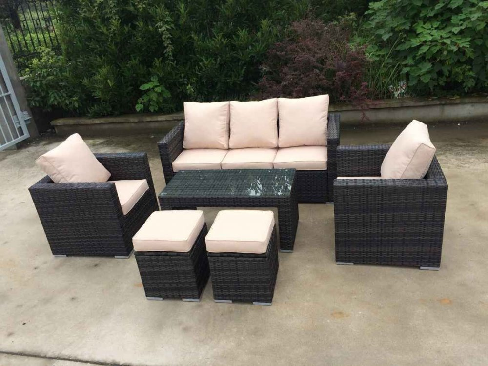 High quality furniture PVC poly rattan synthetic sofa dining set