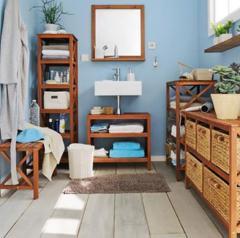 Solid natural color bathroom furniture shelves cabinet
